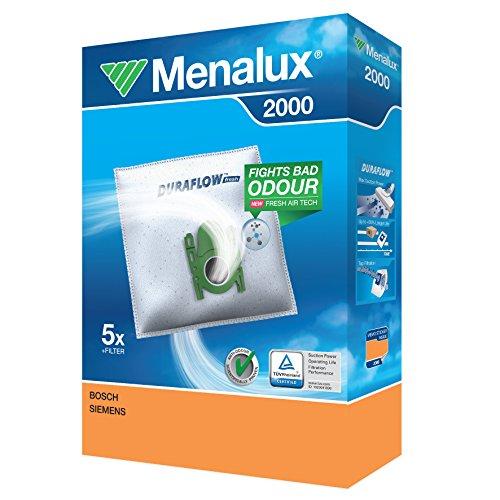 Menalux 2000 - Pack de 5 bolsas sintéticas y 1 filtro para aspiradores Bosch GL-20, GL-30, GL-40, Move y Sphera, Siemens Z 3.0, Super XS, VS5 y Ufesa AC